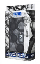 Анальные шарики Tom of Finland Silicone Cock Ring with 3 Weighted Balls